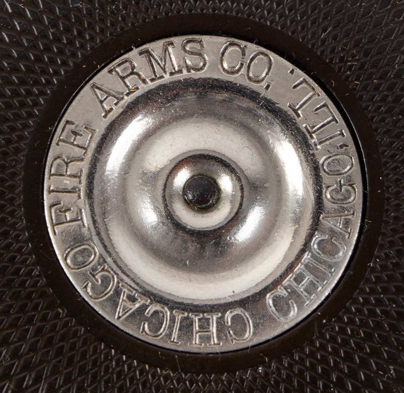 Chicago Palm Pistol, the Protector by Chicago Arms Company, Squeezer .32 Caliber Extra Short Rimfire, 99% Original Nickel, A FINE Example, address detail