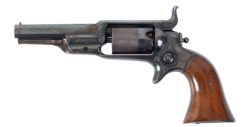 Colt Model 1855 Sidehammer Root Pocket Revolver, Model 2, Very Rare Holster Colt Invented, Overseen by Elisha Root (1808-1865) Manufactured 1859 Serial number: 21785 [all matching numbers], 3.5-inch octagonal .28 caliber barrel, left facing