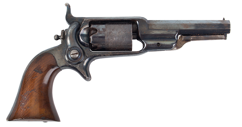 Colt Model 1855 Sidehammer Root Pocket Revolver, Model 2, Very Rare Holster Colt Invented, Overseen by Elisha Root (1808-1865) Manufactured 1859 Serial number: 21785 [all matching numbers], 3.5-inch octagonal .28 caliber barrel, right facing