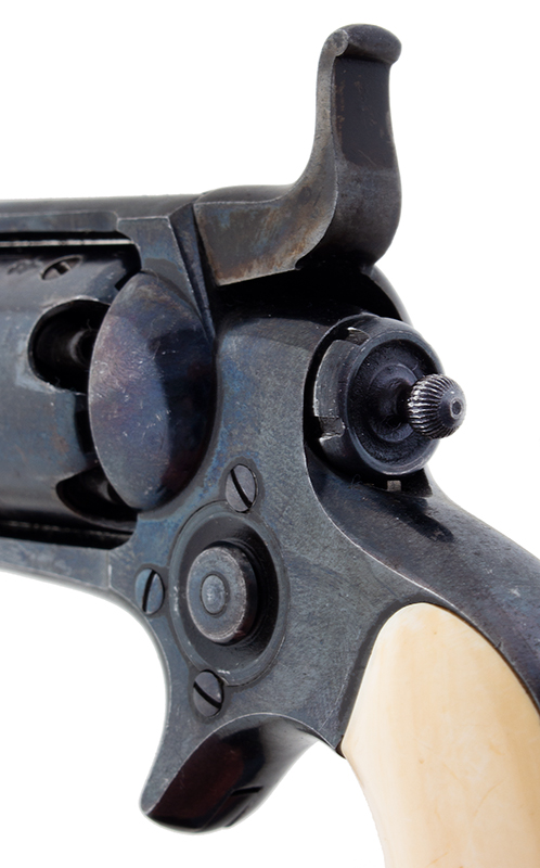 Cased London Marked Colt Model 1855 'Root'  Rare, Very Fine Pocket Percussion Side-hammer Revolver Model 7 variation, manufactured in 1868, detail view 3