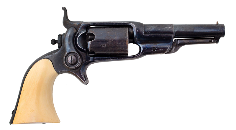 Cased London Marked Colt Model 1855 'Root'  Rare, Very Fine Pocket Percussion Side-hammer Revolver Model 7 variation, manufactured in 1868, right facing