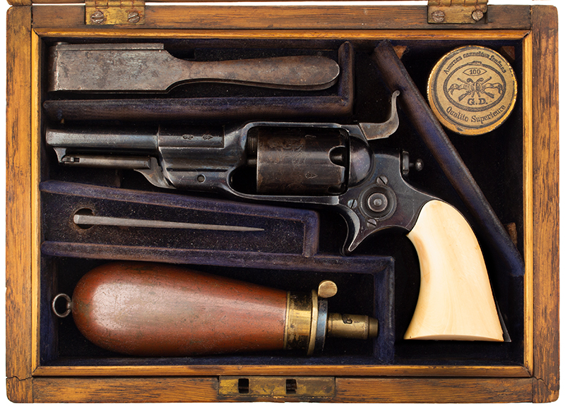 Cased London Marked Colt Model 1855 'Root'  Rare, Very Fine Pocket Percussion Side-hammer Revolver Model 7 variation, manufactured in 1868, in case view