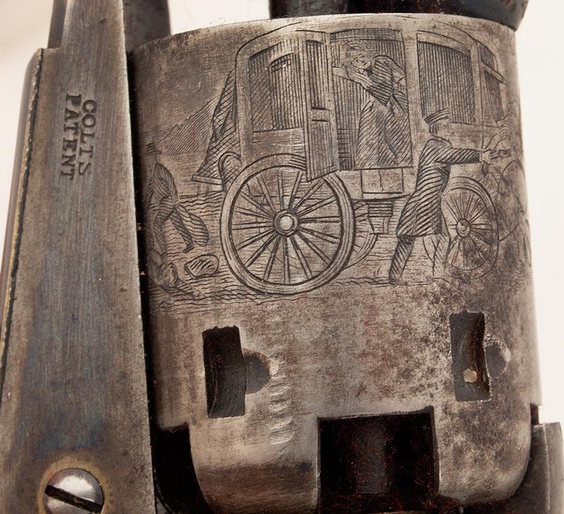 Revolver, Colt 1849 Pocket Model, Wells Fargo Serial Number 147170, 31 Caliber, 3 Inch Barrel Marked: ADDRESS SAML Colt / New York City The Cylinder Marked: US PATENT / 147170, cylinder detail 1