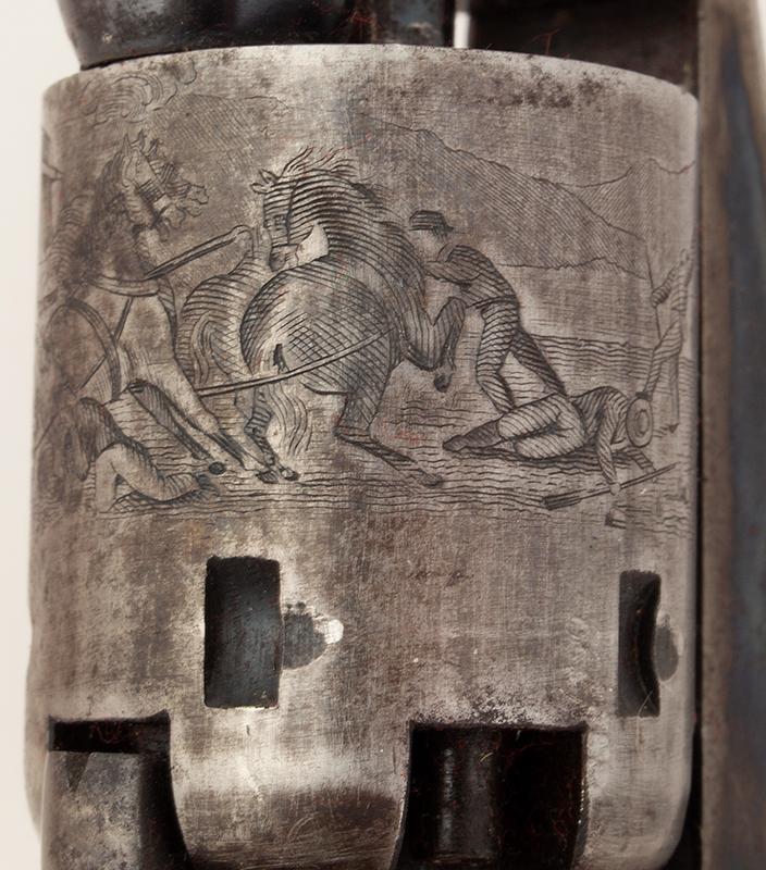 Revolver, Colt 1849 Pocket Model, Wells Fargo Serial Number 147170, 31 Caliber, 3 Inch Barrel Marked: ADDRESS SAML Colt / New York City The Cylinder Marked: US PATENT / 147170, cylinder detail 3