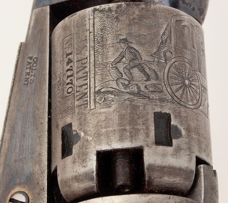 Revolver, Colt 1849 Pocket Model, Wells Fargo Serial Number 147170, 31 Caliber, 3 Inch Barrel Marked: ADDRESS SAML Colt / New York City The Cylinder Marked: US PATENT / 147170, cylinder detail 4