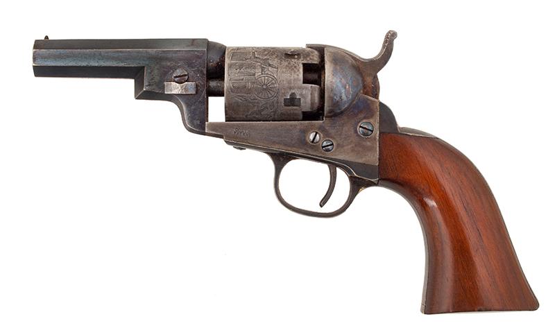 Revolver, Colt 1849 Pocket Model, Wells Fargo Serial Number 147170, 31 Caliber, 3 Inch Barrel Marked: ADDRESS SAML Colt / New York City The Cylinder Marked: US PATENT / 147170, left facing