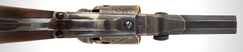 Revolver, Colt 1849 Pocket Model, Wells Fargo Serial Number 147170, 31 Caliber, 3 Inch Barrel Marked: ADDRESS SAML Colt / New York City The Cylinder Marked: US PATENT / 147170, trigger guard