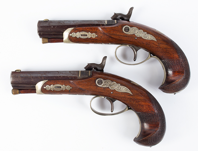 Cased pair of Henry Deringer Pistols, Extremely Rare A true matched pair with identical measurements and embellishments, left facing