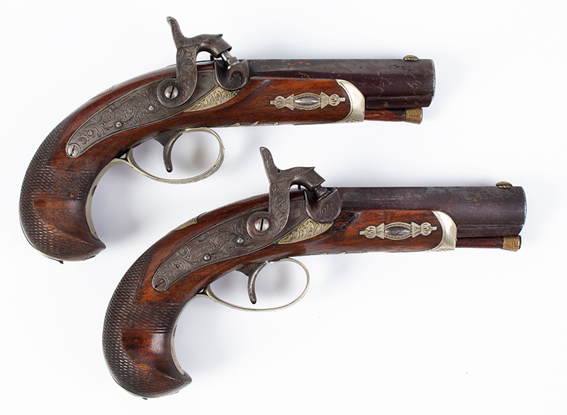 Cased pair of Henry Deringer Pistols, Extremely Rare A true matched pair with identical measurements and embellishments, right facing