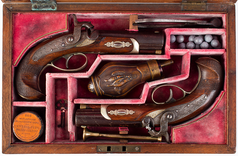 Cased pair of Henry Deringer Pistols, Extremely Rare A true matched pair with identical measurements and embellishments, case view 2