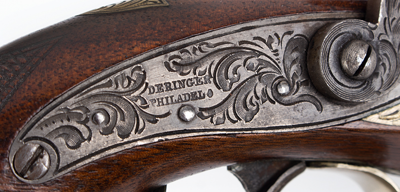 Cased pair of Henry Deringer Pistols, Extremely Rare A true matched pair with identical measurements and embellishments, lock plate 2