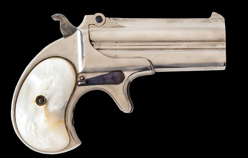 "Remington, Model 95 Double Derringer, Over-Under, Type II .41 Caliber Rimfire Short, 3"" Round Superposed Barrels, EXTRA FINE, right facing"