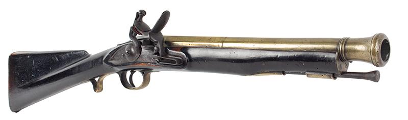 "Flintlock Blunderbuss, Engraved ""PENITENTIARY"" on Barrel, Guard's Gun WILLIAM PARKER / LONDON / MAKET TPO HIS MAGISTRY…Engraved on Barrel Also Engraved on Barrel: PENITENTIARY, entire view"