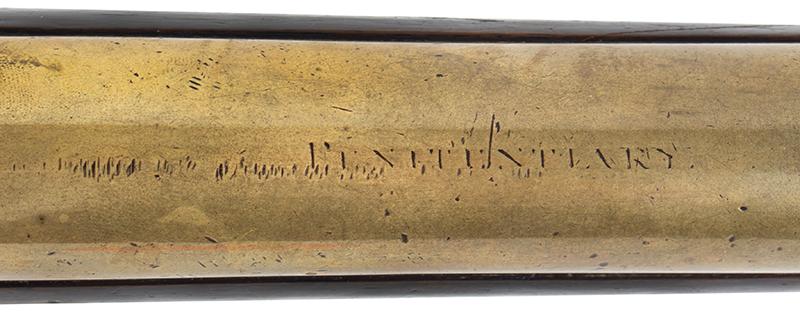 "Flintlock Blunderbuss, Engraved ""PENITENTIARY"" on Barrel, Guard's Gun WILLIAM PARKER / LONDON / MAKET TPO HIS MAGISTRY…Engraved on Barrel Also Engraved on Barrel: PENITENTIARY, engraving detail"