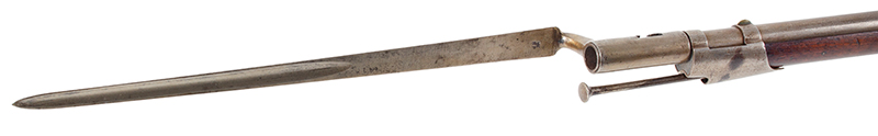 US Model 1816 flintlock musket by Asa Waters with New Hampshire Surcharge, bayonet view 1