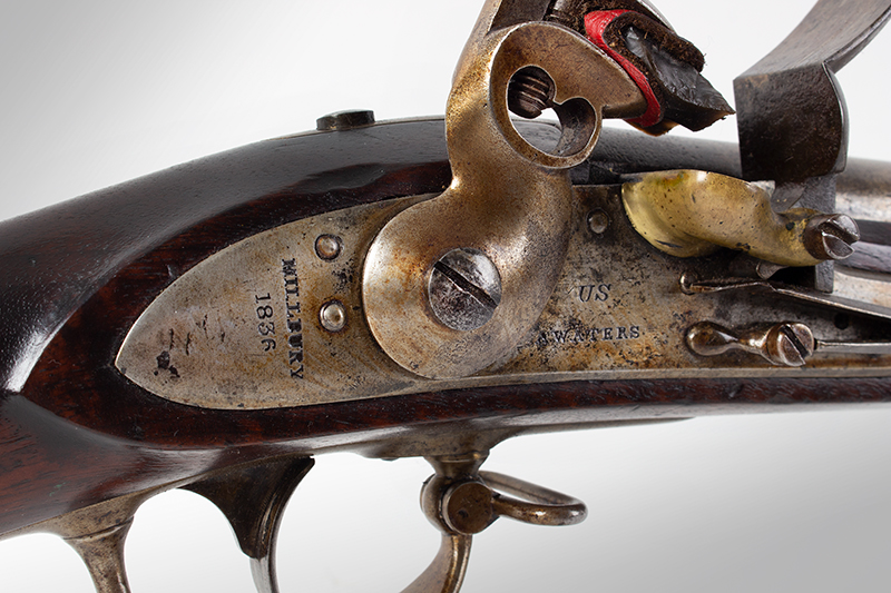 US Model 1816 flintlock musket by Asa Waters with New Hampshire Surcharge, lock plate view 2
