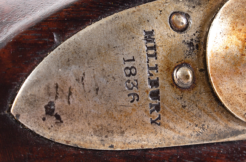 US Model 1816 flintlock musket by Asa Waters with New Hampshire Surcharge, lock plate detail 1