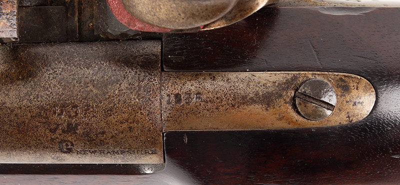 US Model 1816 flintlock musket by Asa Waters with New Hampshire Surcharge, tang