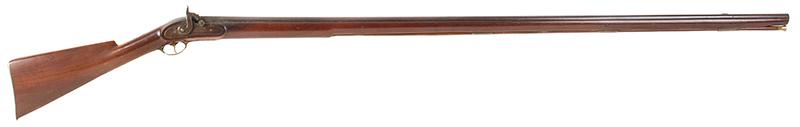 """Antique, Percussion Fowler, Boston, """"The Last American Long Fowler"""", Fine Condition William Read, Boston, Massachusetts, circa 1840-1850 A special-order late percussion long fowler, 52-inch barrel, .65-Caliber, Cherry stock, right facing"""