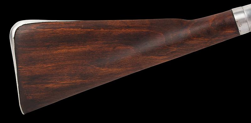Antique, Breech-Loading Flintlock Poachers Gun, Screw Barrel Take-Down Gun Anonymous, circa 1800-1830 23.75-inch .45-caliber barrel, overall length: 42.5-inches, stock