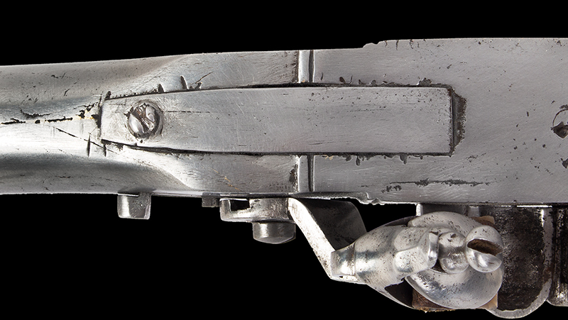Antique, Breech-Loading Flintlock Poachers Gun, Screw Barrel Take-Down Gun Anonymous, circa 1800-1830 23.75-inch .45-caliber barrel, overall length: 42.5-inches, tang
