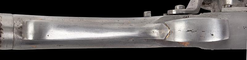Antique, Breech-Loading Flintlock Poachers Gun, Screw Barrel Take-Down Gun Anonymous, circa 1800-1830 23.75-inch .45-caliber barrel, overall length: 42.5-inches, trigger guard