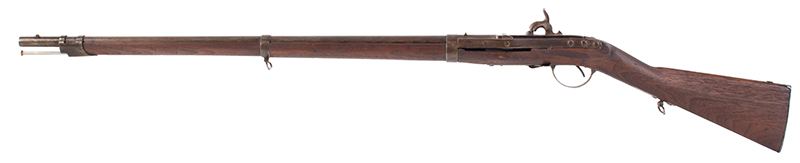 Antique, Model 1841 Hall Breech Loading Percussion Rifle, Type II, RARE 32.5-inch, .52-caliber seven groove rifled barrel in brown lacquer  Breech Marked in Three Lines; H. Ferry / U.S. / 1841, left facing