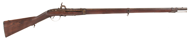Antique, Model 1841 Hall Breech Loading Percussion Rifle, Type II, RARE 32.5-inch, .52-caliber seven groove rifled barrel in brown lacquer  Breech Marked in Three Lines; H. Ferry / U.S. / 1841, right facing