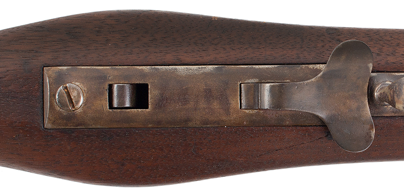 Antique, Model 1841 Hall Breech Loading Percussion Rifle, Type II, RARE 32.5-inch, .52-caliber seven groove rifled barrel in brown lacquer  Breech Marked in Three Lines; H. Ferry / U.S. / 1841, fish tail release