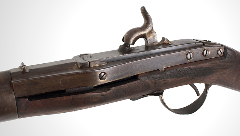 Antique, Model 1841 Hall Breech Loading Percussion Rifle, Type II, RARE 32.5-inch, .52-caliber seven groove rifled barrel in brown lacquer  Breech Marked in Three Lines; H. Ferry / U.S. / 1841, lock plate 3