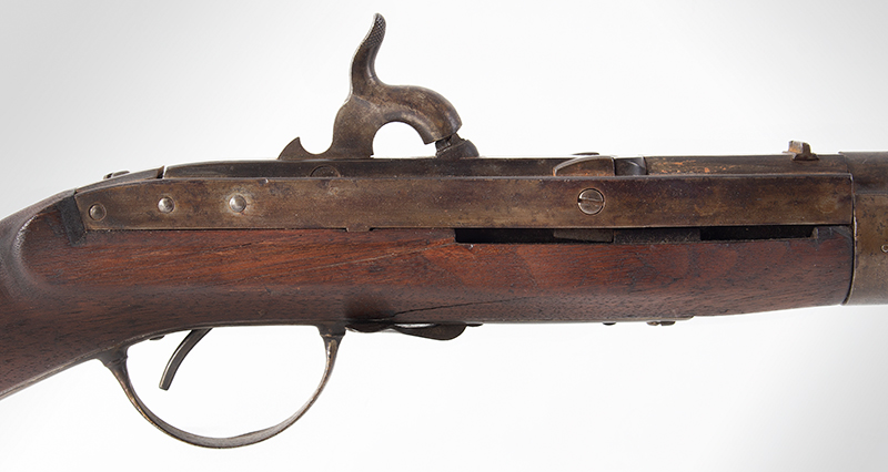 Antique, Model 1841 Hall Breech Loading Percussion Rifle, Type II, RARE 32.5-inch, .52-caliber seven groove rifled barrel in brown lacquer  Breech Marked in Three Lines; H. Ferry / U.S. / 1841, lock plate 1