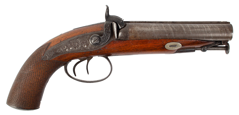 Antique Double Barrel Howdah Percussion Pistol by Frederick Barnes, London Mid-19th Century, Overall length: 11.25''; barrel length: 5'', .65 Caliber Smoothbore, right facing