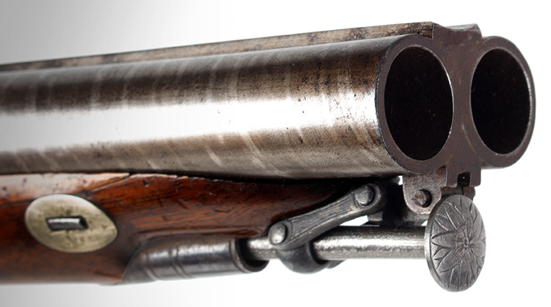 Antique Double Barrel Howdah Percussion Pistol by Frederick Barnes, London Mid-19th Century, Overall length: 11.25''; barrel length: 5'', .65 Caliber Smoothbore, muzzle