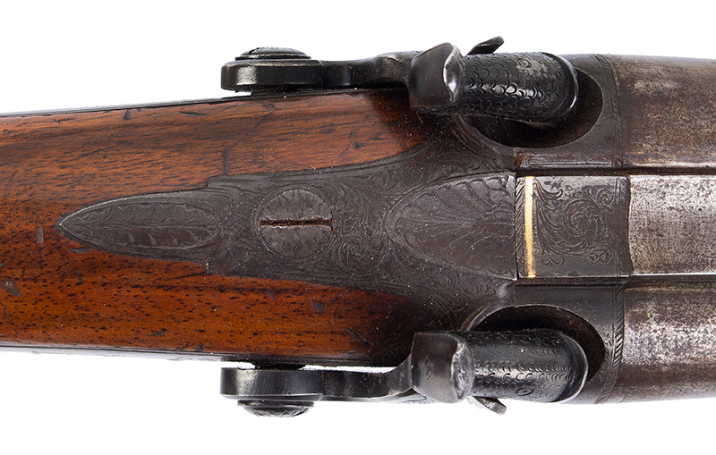 Antique Double Barrel Howdah Percussion Pistol by Frederick Barnes, London Mid-19th Century, Overall length: 11.25''; barrel length: 5'', .65 Caliber Smoothbore, tang