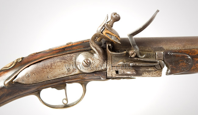 Flintlock Fowling Gun, Breech Loading, Chamber, Pan & Frizzen Removeable for Loading Extremely Rare Break Action, Fowling Gun, Reloadable Steel Chamber Amsterdam, 18th Century, lock plate