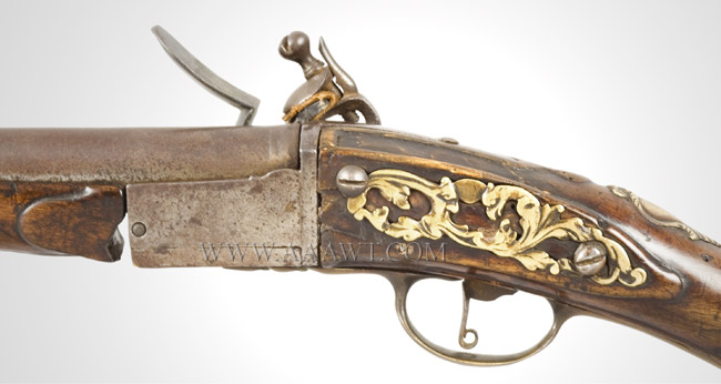 Flintlock Fowling Gun, Breech Loading, Chamber, Pan & Frizzen Removeable for Loading Extremely Rare Break Action, Fowling Gun, Reloadable Steel Chamber Amsterdam, 18th Century, side plate