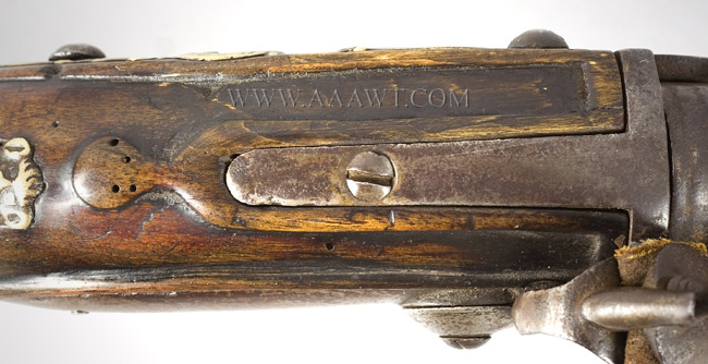 Flintlock Fowling Gun, Breech Loading, Chamber, Pan & Frizzen Removeable for Loading Extremely Rare Break Action, Fowling Gun, Reloadable Steel Chamber Amsterdam, 18th Century, tang view
