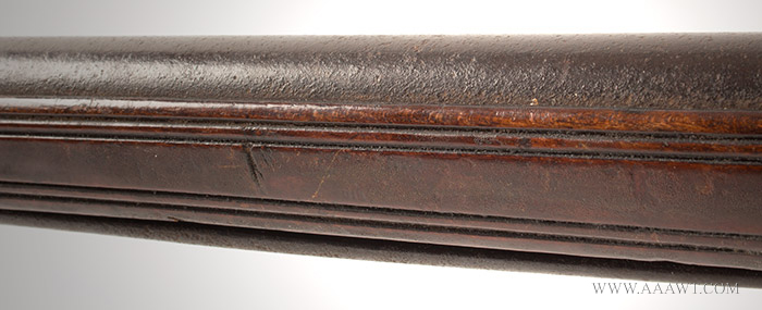 Musket, Smooth Bore, Fowler, Bayonet Lug, New England, 18th Century Possibly Worcester County, Massachusetts, detail view 1