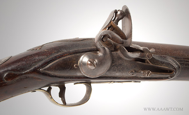 Musket, Smooth Bore, Fowler, Bayonet Lug, New England, 18th Century Possibly Worcester County, Massachusetts, lock plate