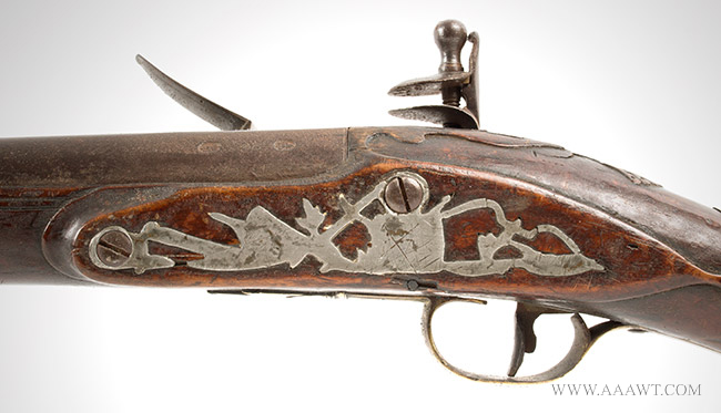 Musket, Smooth Bore, Fowler, Bayonet Lug, New England, 18th Century Possibly Worcester County, Massachusetts, side plate