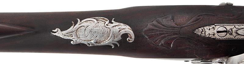 18th Century Flintlock Musket, Exceptional, Lightweight, Edward Newton Edward Newton (1692-1764) Grantham, London, circa 1730, details view
