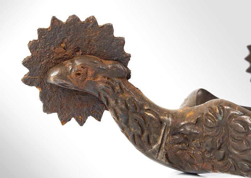 Civil War: Pair Brass Eagle Spurs, CW era, detail view