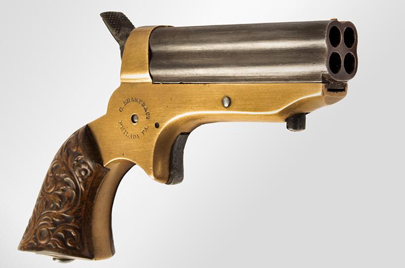 Antique, Sharps Breech-Loading 4-Shot Pepperbox Pistol, Philadelphia, 1859-1874, angle view