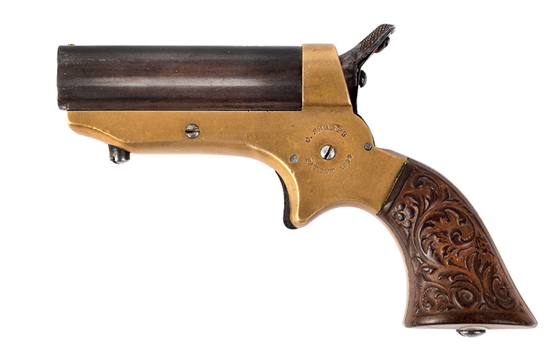 Antique, Sharps Breech-Loading 4-Shot Pepperbox Pistol, Philadelphia, 1859-1874, left facing