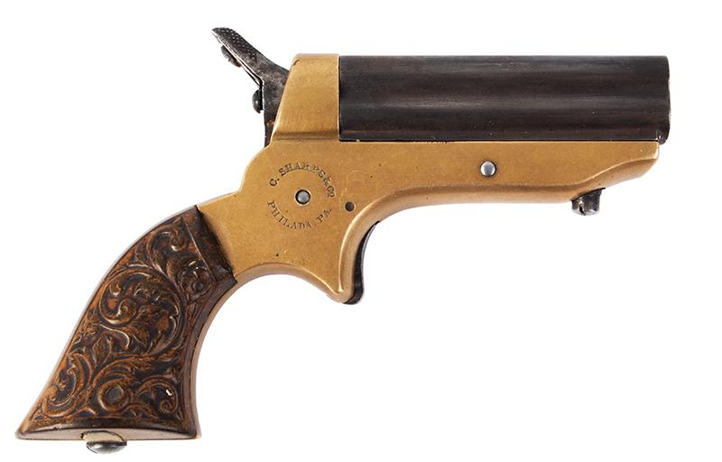 Antique, Sharps Breech-Loading 4-Shot Pepperbox Pistol, Philadelphia, 1859-1874, right facing