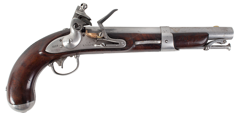 U.S. Model 1826 Navy Flintlock Pistol, Dated 1828, Simeon North  Middletown, Connecticut, circa 1826 to 1829, right facing