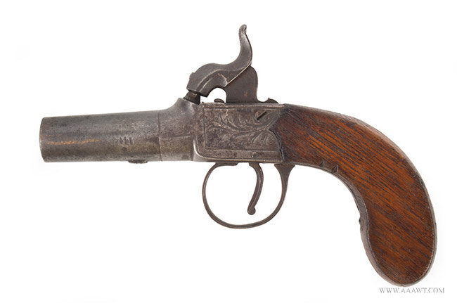 Engraved Boxlock Percussion Pistol by Nock of London, Engraved Decoration London, Circa 1835, left facing