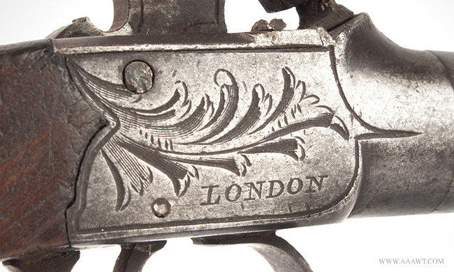 Engraved Boxlock Percussion Pistol by Nock of London, Engraved Decoration London, Circa 1835, right side