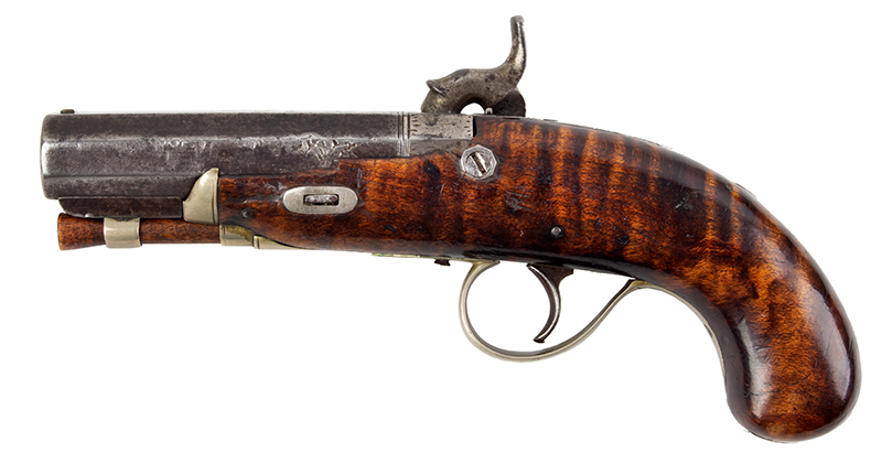 19th Century Derringer Pocket Pistol, Curly Maple, Silver Mounted Obviously Made by an American Kentucky Rifle/Pistol Maker Likely 1840s, left facing