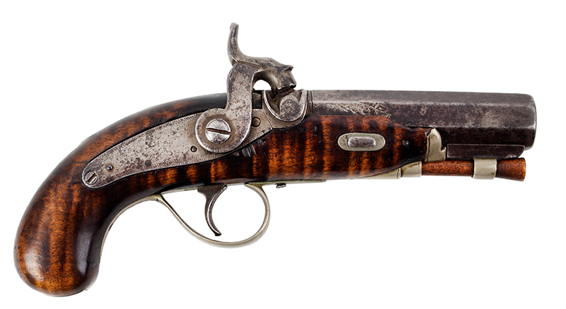19th Century Derringer Pocket Pistol, Curly Maple, Silver Mounted Obviously Made by an American Kentucky Rifle/Pistol Maker Likely 1840s, right facing